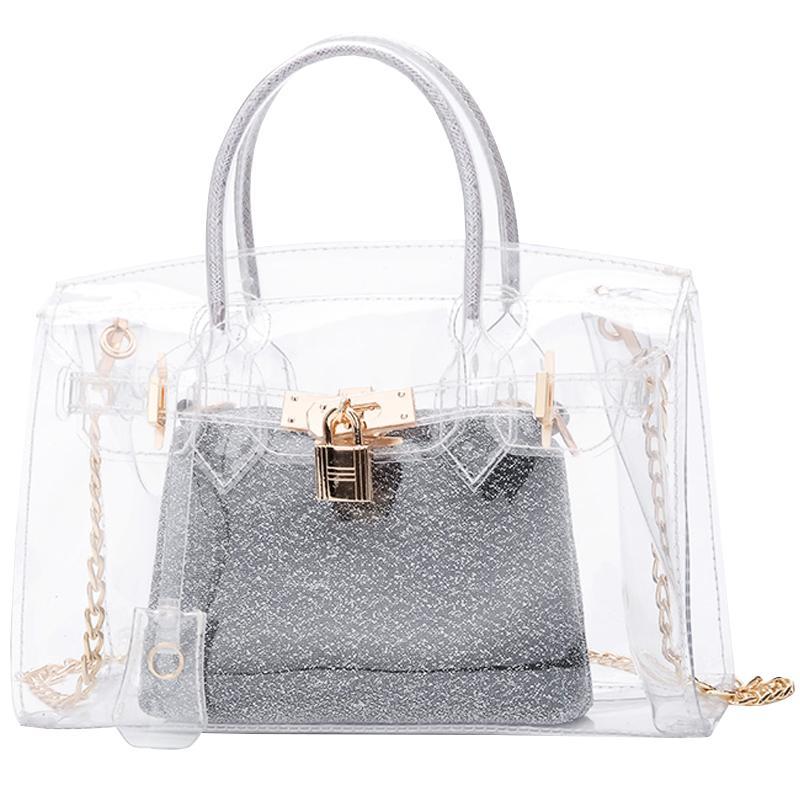 a10b69e232ee Women S Designer Handbag 2018 Summer Fashion New Handbag High Quality PVC  Transparent Big Bag Women Tote Bag Chain Shoulder Ladies Purse Leather  Briefcase ...