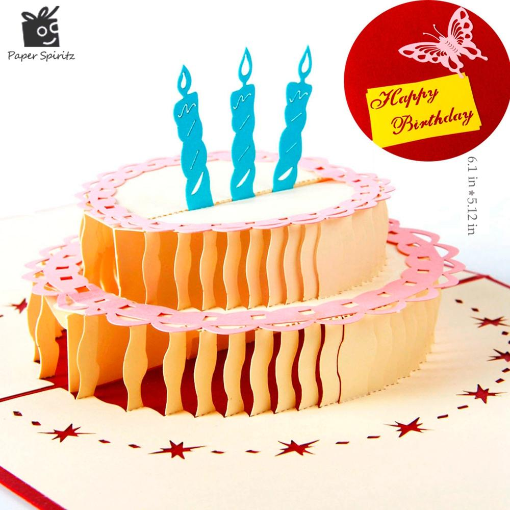 Wholesale Happy Birthday Cake 3d Laser Cut Pop Up Paper Handmade