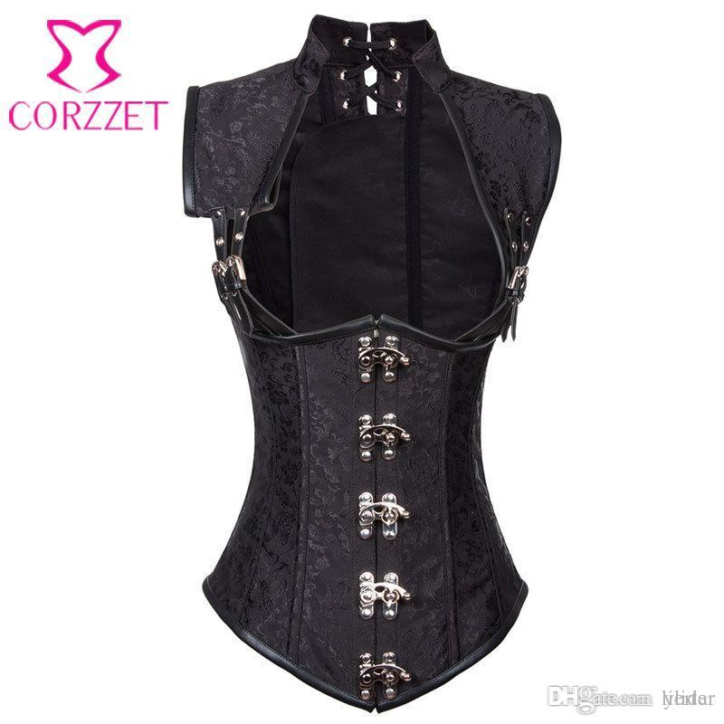 3da06ddfe53 2019 Wholesale Black Brocade Collared Top Cupless Sexy Corset Vest Steampunk  Corset Underbust Gothic Clothing Corsets And Bustiers Steel Boned From  Lilidar