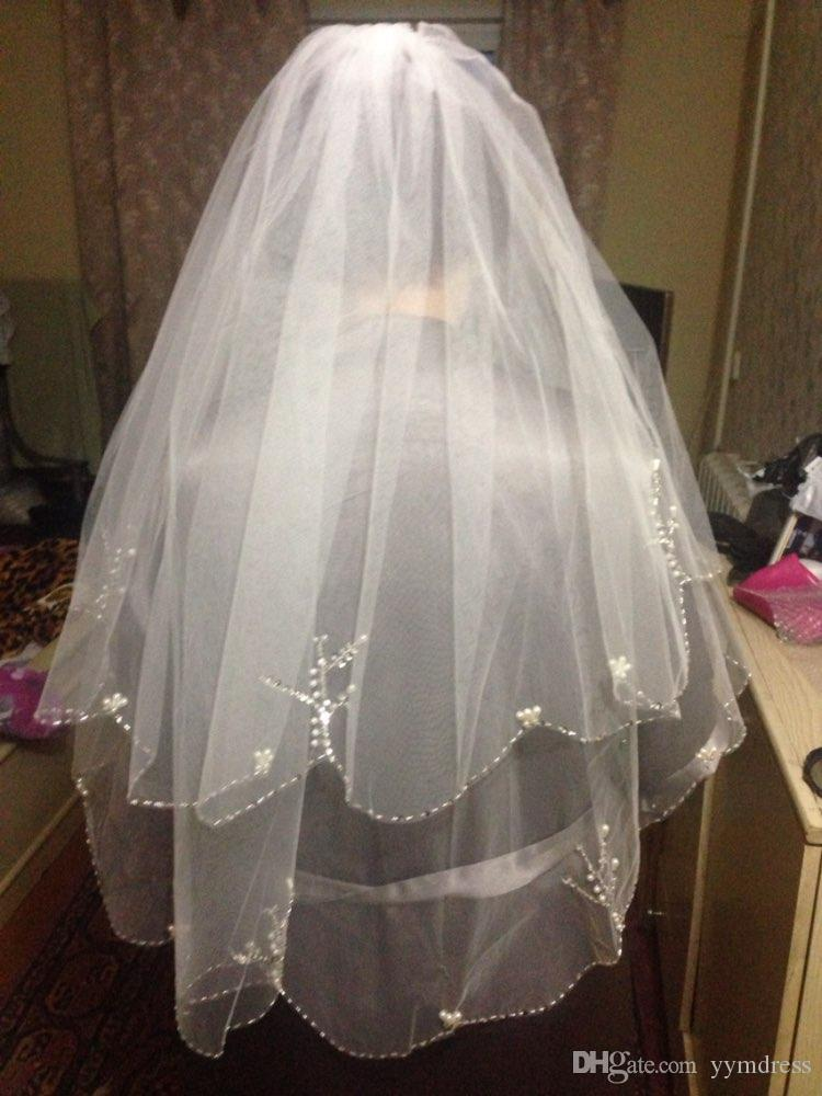 Two Layers Tulle Short Bridal Veils 2018 Hot Sale Cheap Ivory White Wedding Bridal Veil For wedding Dresses Beads Pearls Edage Net