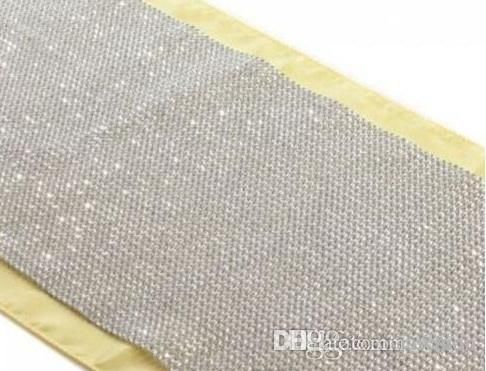 Delicieux Wholesale New Diamond Mesh Table Runner Wedding Party Bling Decoration 50  Rows 24cm Silver Rhinestone Wrap Ribbon Roll Sparkle Crystal Round Table  Runners ...