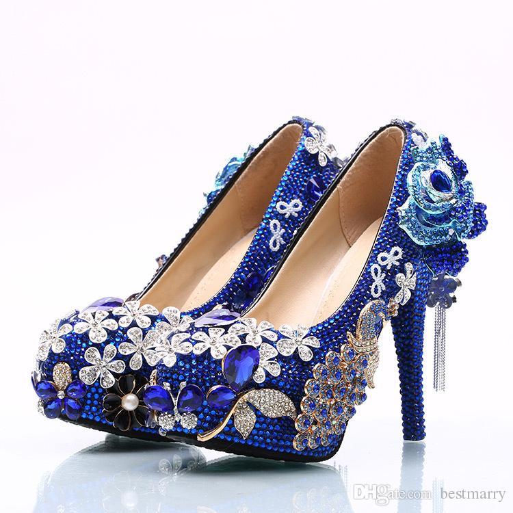Blue Diamond Flowers Wedding Shoes 2018 Flower Chains Pumps High ... a31315af24ed