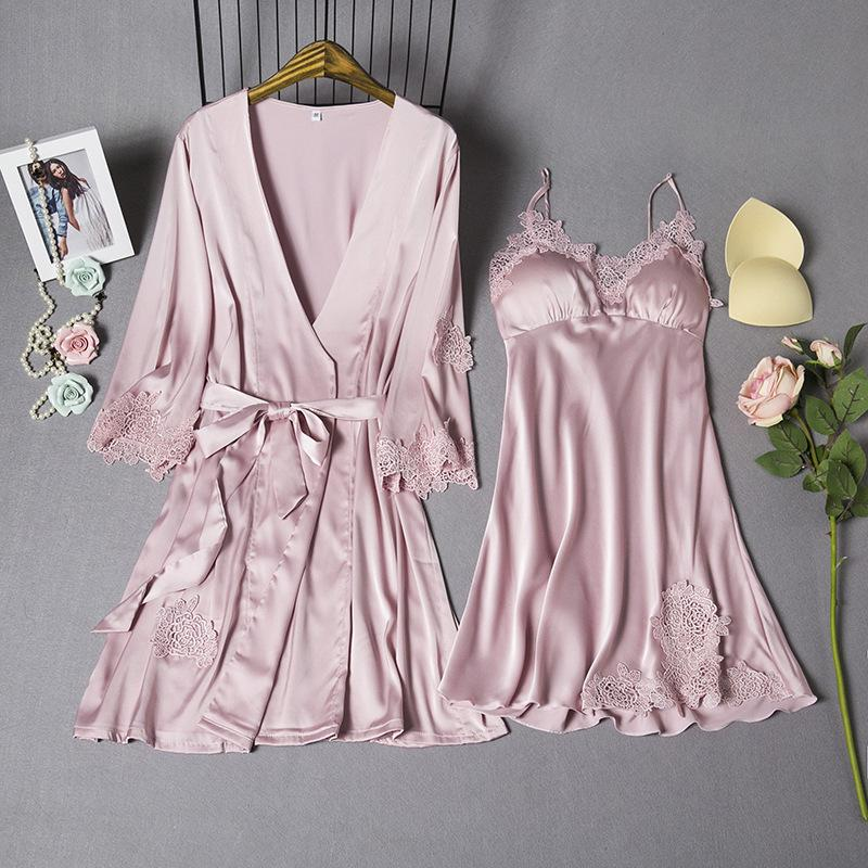 6f040da3ba9 MECHCITIZ Spring Summer Silk Women s Dress + Bathrobe Two Pieces ...
