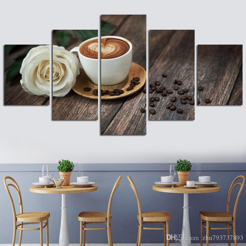2018 Canvas Pictures Wall Art Frame Coffee Cup And Rose Paintings Hd ...