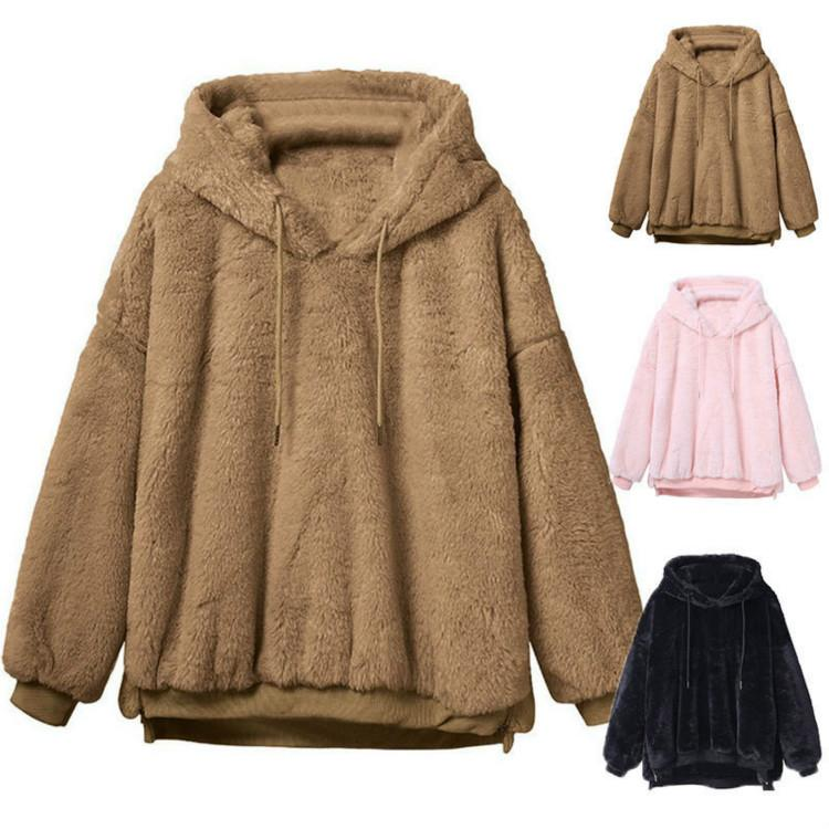 86056c8afd2 Women Sherpa Hoodie Casual Loose Long Sleeve Plush Hoodie Thicken Hooded  Pullover Jacket Winter Warm Sweater Hoodies Drawstring Sweatshirt Online  with ...