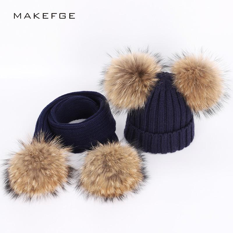 1e85d3f715a00 Winter Children S Knitted Raccoon Fur Pom Pom Hats Scarf Two Piece Mask  Warm And Comfortable Adjustable Boy Girl Ski Caps Beanie Canada 2019 From  ...