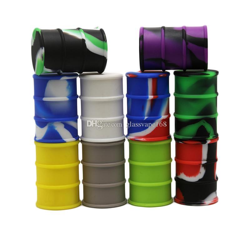 26ml Food Grade Nonstick Silicone Containers Barrel Tambor Forma Jar Dab Container Wax vaporizador Dabber Para Dabs de petróleo seco Erva Fitoterapia