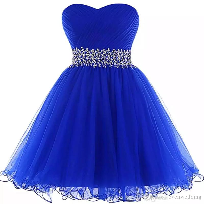 7f68451584b9 Lovely Sweetheart Ball Gown Homecoming Dresses Royal Blue Short Prom Gowns  New Women Party Dress With Ruffles Short Dresses Online Special Dresses  From ...