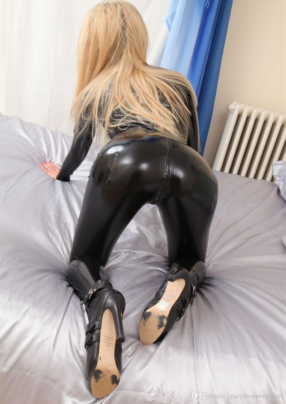 Mono atractivo de las mujeres Negro Charol Bondage Zentai Catsuit wetlook PVC Látex Leotardo Crotchless Body erótico Clubwear