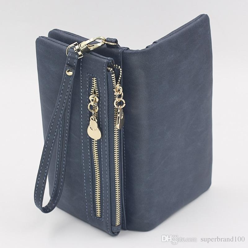 Mode Doppel-reißverschluss Tag Kupplung Geldbörse Frauen Geldbörsen Stumpfen Polnischen Leder Brieftasche Armband Portefeuille Handtaschen Carteira Femle