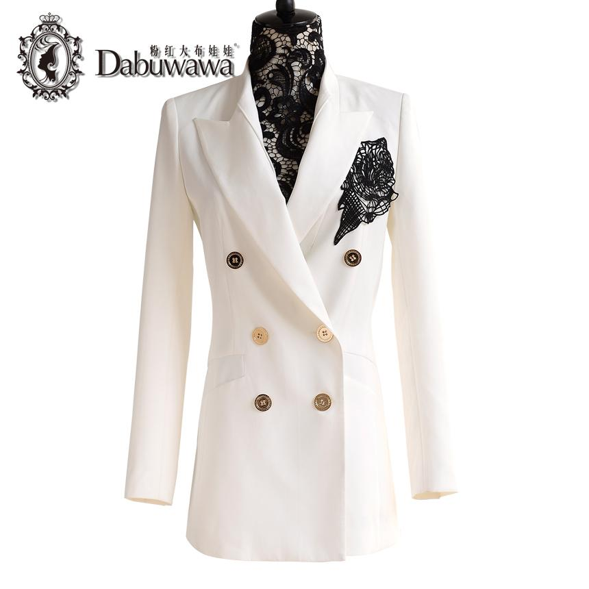 d903cc52eacbc Compre Dabuwawa Blanco Primavera Otoño Moda Solo Botón Blazer Femenino  Damas Blazer Traje Blanco A  117.59 Del Southd