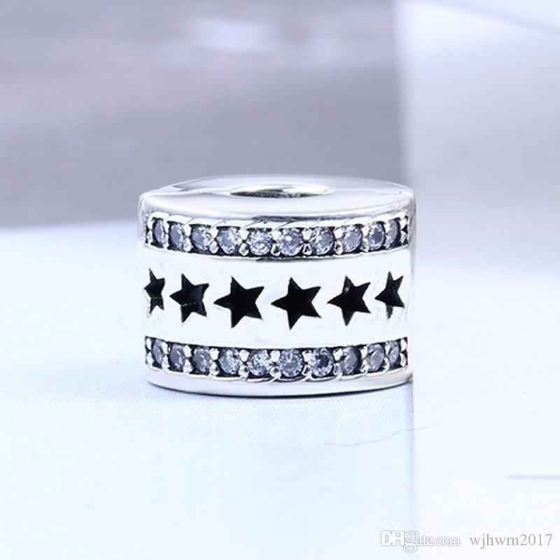 Star Path Clipe Charme Beads com Cristal Pedra Original 925 Sterling Silver Stopper Bloqueio Grampo Talão Fit Encantos Pulseiras DIY Fazer Jóias
