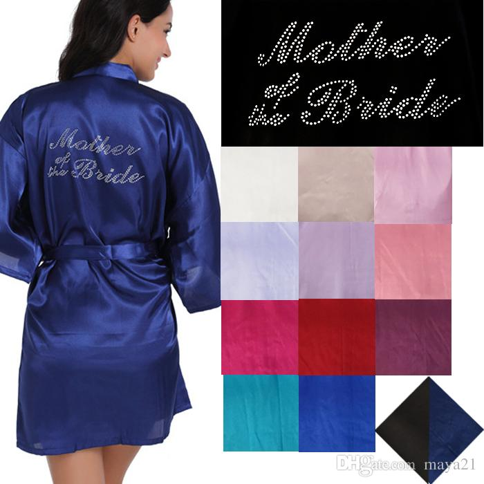 b0c0abd3f3 Clear Rhinestone Silk Satin Wedding Kimono Robe Personalized Mother Of The Bride  Wedding Party Robes Cheap Satin Bathrobes For Bridal Mother Cheap Bridal ...