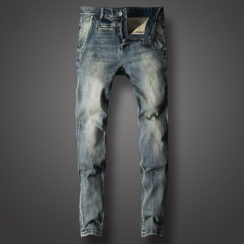 e43b7711259 Acheter Italien Vintage Designer Hommes Jeans Rétro Classique Pantalon Slim  Fit Pantalon Occasionnel Marque Jeans Hommes Haute Qualité Biker Homme De   55.93 ...