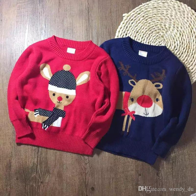 42fbed9f3 HAPPY BABY Sets the new children's sweaters knitted sweater Children in the children's  clothing wholesale Christmas deer double sweater