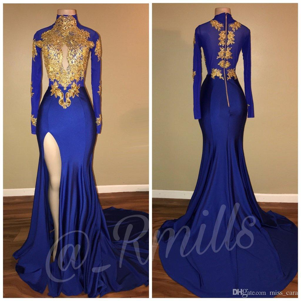 2018 Royal Blue and Gold Lace Applique Split Side Evening Dresses Long Sleeves Mermaid High Neck Vintage Party Dress Prom Gowns