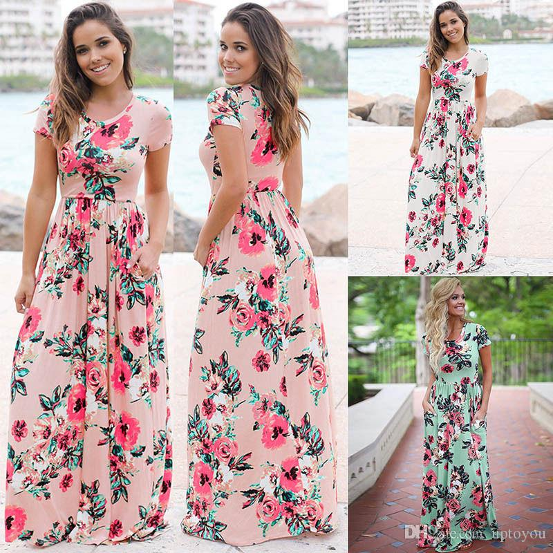 b16c75c58d0 2019 Summer Floral Dress Printed Long Boho Beach Dresses O Neck Short  Sleeve Empire Flower Vintage Floor Length Maxi Sundress Pool Pool Party  From Uptoyou