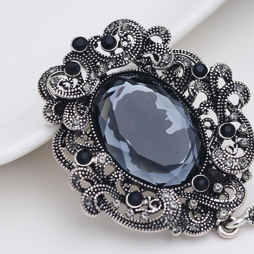 7f86c68e3d36b 2018 Top luxury Black big Brooch pins crystal Rhinestone Vintage Big Glass  Beauty images Crystal vintage Brooch For Women