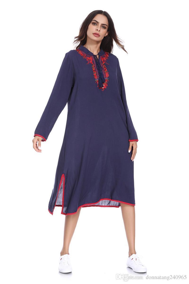 f08497c8fe6 2019 Latest Design Solid Color Long Sleeve Muslim Dress Loose Fit Hemp  Hijab Dress Embroidered Islamic Clothing Abaya Dubai Kaftan From Dujotree