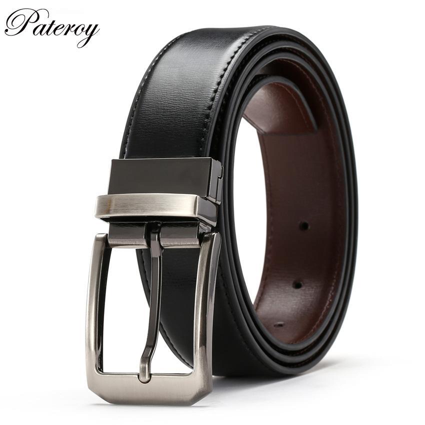Pateroy Gürtel Männer Echte Leder Für Jeans Designer Gürtel Für Männer Hohe Qualität Automatische Schnalle Luxus Ceinture Homme Herrengürtel