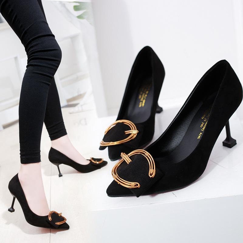 16e4ab26494 Shoes Woman Bow Heels Buckle Strap Low Pumps Yellow Women Stilettos Ladies  Lace Round Designer Fashion Gold Winter High Online with  55.96 Pair on ...