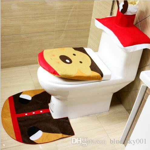 Christmas Decorations Toilet sleeves Creative layout and Decoration Of Toilet 3-piece Suit Santa Claus And Elk Snowman Elf Adornment