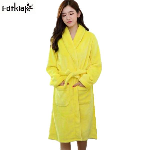 New Autumn Winter Long Dressing Gowns for Women Bathrobes Flannel ...