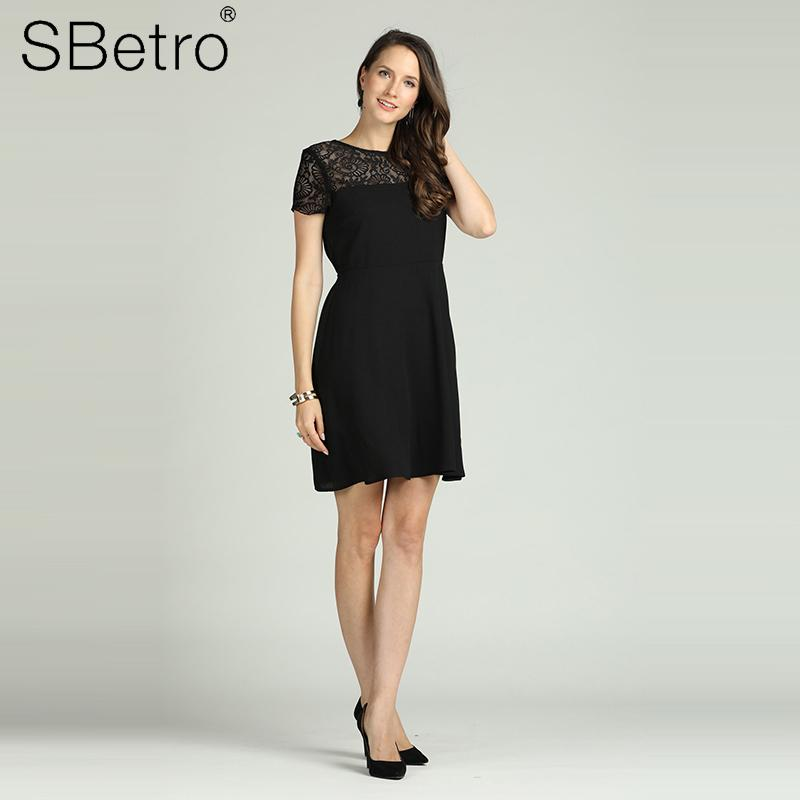 a6cdc415b66f Suzanne Betro Lace Shoulder Fit And Flare Backless Short Sleeves Black  Aline Party Wedding Woven Mini Dress Floral Women Dress Collection Shopping  For A ...
