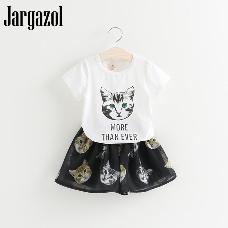 51e612186 Jargazol Baby Girl Clothes Cute Children's Clothing Set Cat Cartoon Printed  T Shirt + Flower Skirt 2pcs/set Girls Clothing