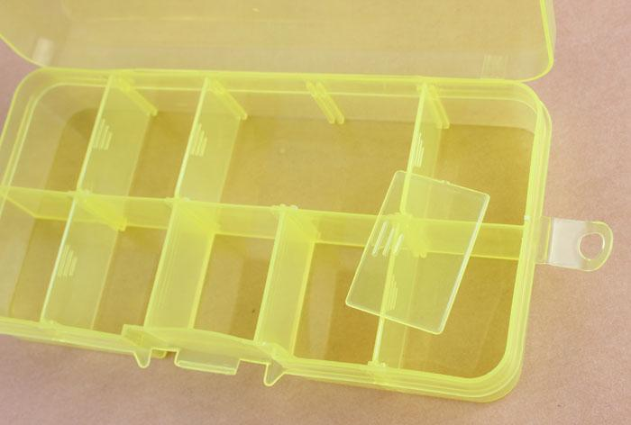 Hot Sale New Plastic 10 Slot Jewelry Necklace Rectangle Display Storage beads charms Organizer Case Box