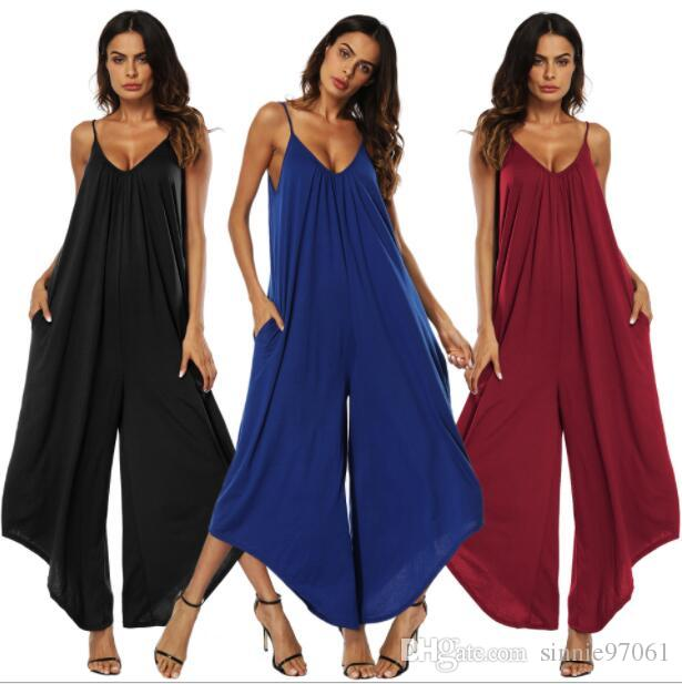 8119de56af2 2019 Europe And The United States Summer Ladies Fashion Sexy V Neck Strap  Halter Jumpsuit Wide Leg Pants From Sinnie97061