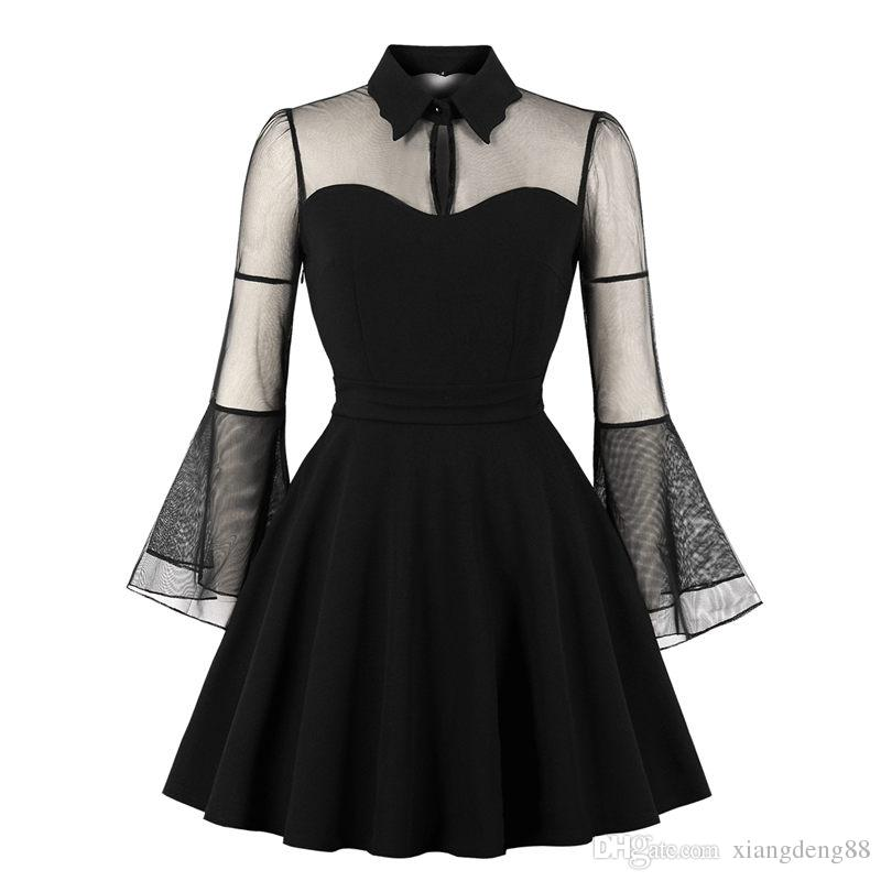 Womens Designed Halloween Retro Black Queen Dress 2018 Fashion Collar Flare  Sleeve Sheer Mesh Clothes Black Plus Size Dresses Formal Evening Gowns  Designer ... cc359926ad