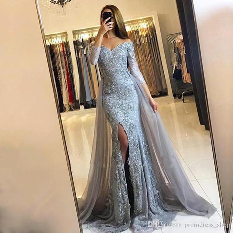 34fbdf7e59 Free Shipping Silver Mermaid Prom Dresses With Detachable Skirt Long  Sleeves V Neck Applique Formal Evening Dress Side Split Evening Gowns