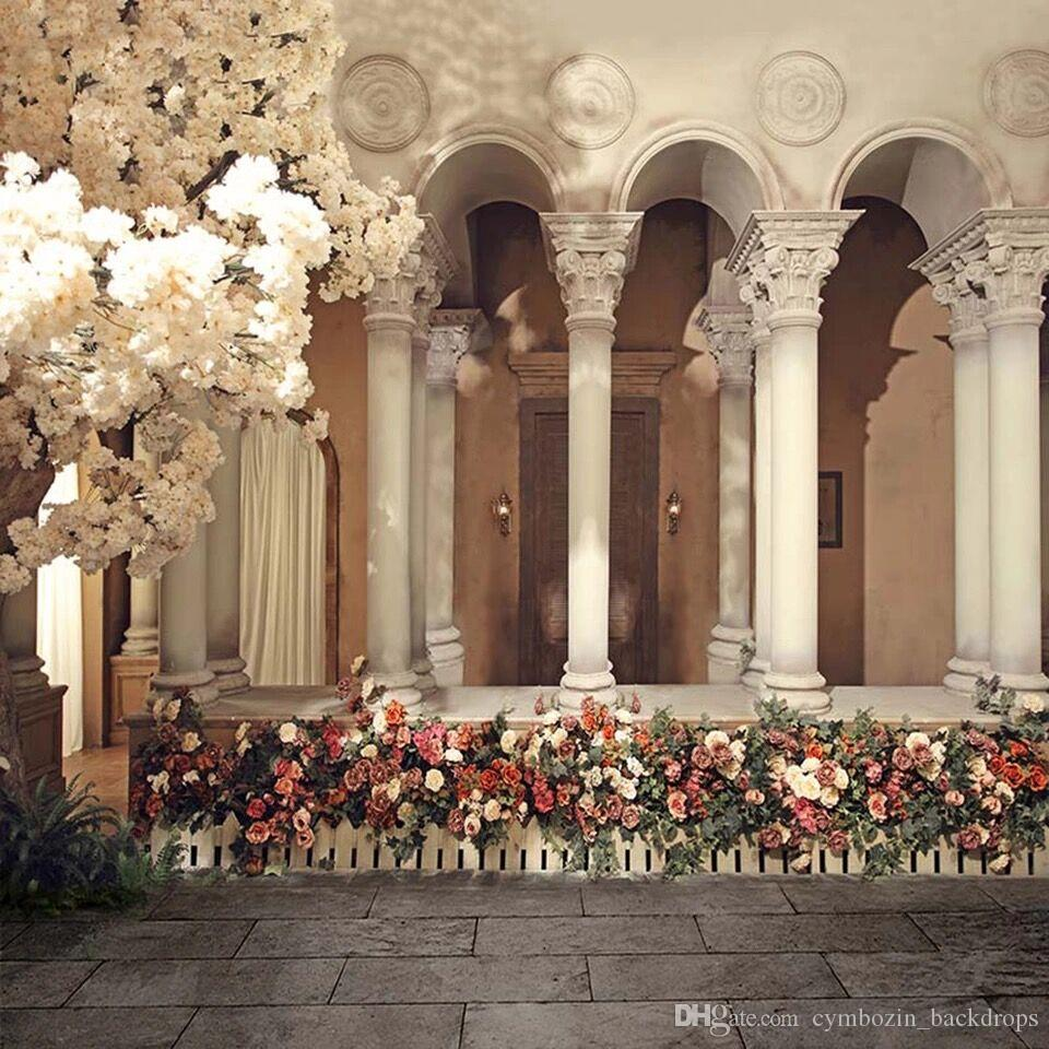 2018 White Cherry Blossoms Garden Wedding Photography Backdrops Printed Castle Arched Pillars Colorful Flowers Roses Photo Studio Backgrounds From