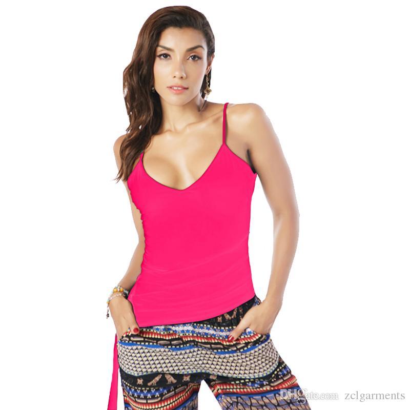 2018 Nuevas Mujeres Camis Vest Irregular Tops Tees Backless Delgado Color Sólido Púrpura V Cuello Negro Blanco Casual Tank Tops Cadena