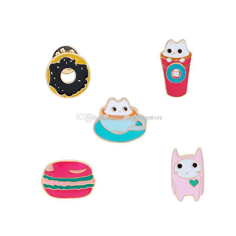 Mode Niedlichen Cartoon Brosche Pins Tier Mini Katze Donuts Emaille Anstecknadeln Abzeichen für Frauen Mädchen Kleidung Tasche