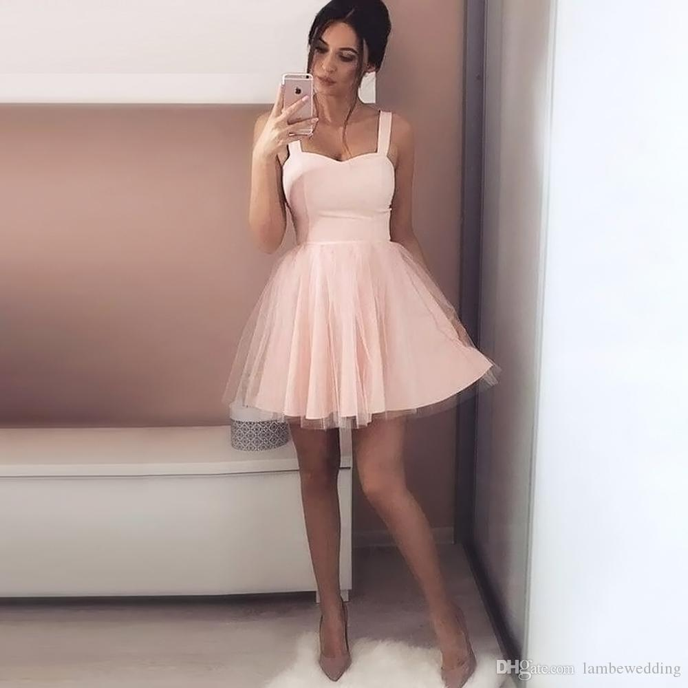 2018 New Arrival A Line Pink Sweetheart Starps Short Prom Dress Sexy ...