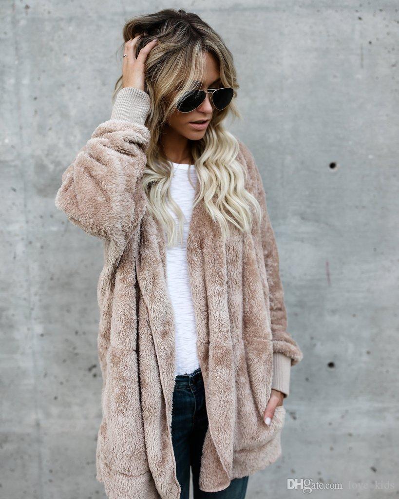 Kadın Kazak hoodie uzun kollu sherpa polar yumuşak kış hırka sevimli sıcak kadınlar moda ceket Kış Sıcak Giyim en kaliteli