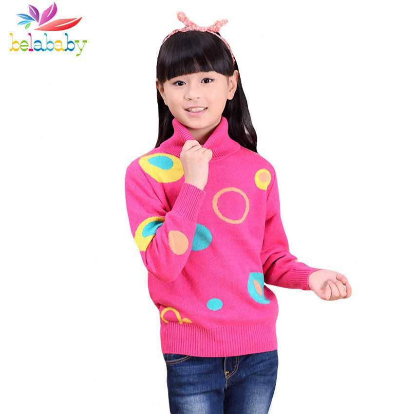 9c3ab6088406 Belababy New 2018 Girls Sweater Autumn Costume Kids Knitted Pullover ...
