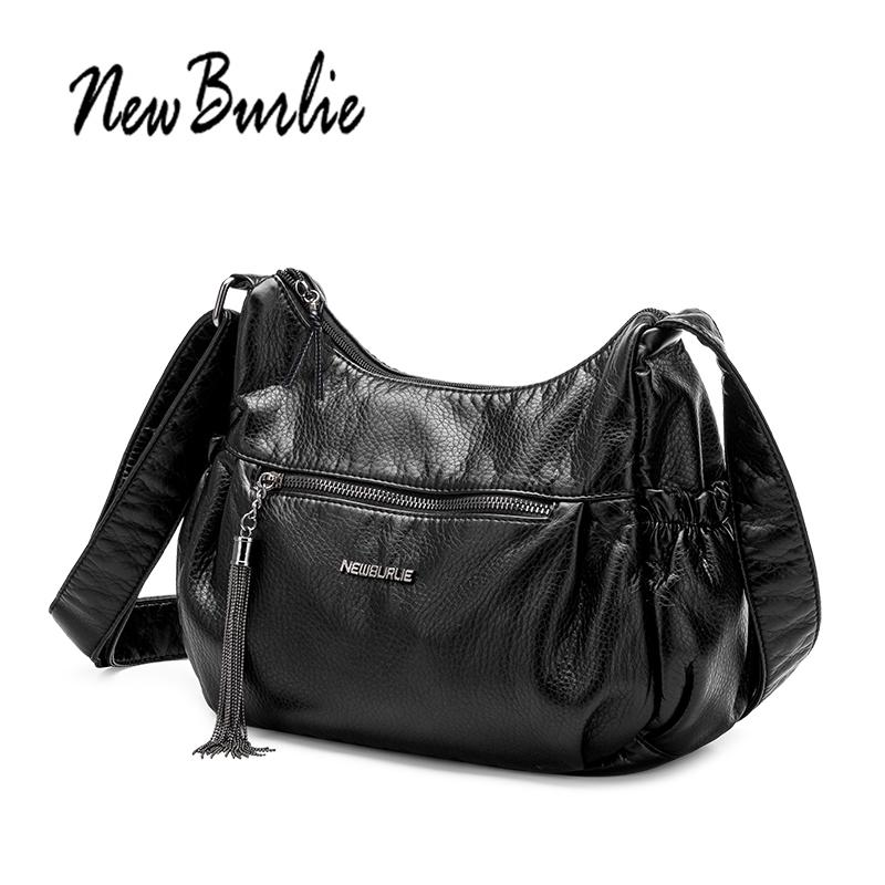 f8412739b613 New Burlie Ladies Casual Hobos Women Messenger Bags Crossbody Soft Washed  PU Leather Shoulder Bag Tassel Fashion Female Handbag Black Leather Handbags  Large ...