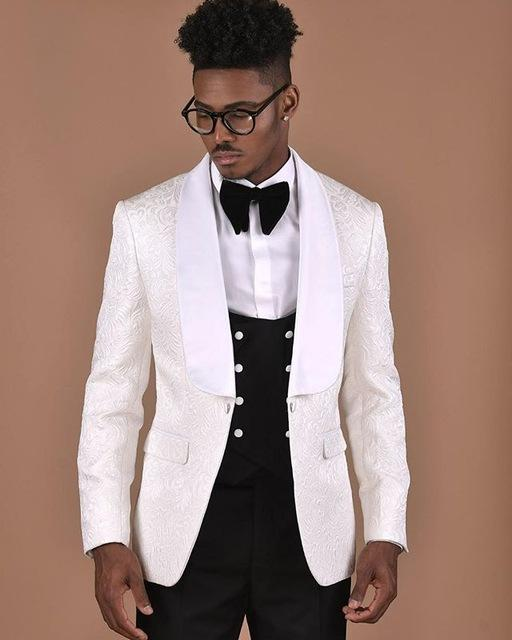 2019 White Pattern With Double Breasted Black Vest Men Suit Groom