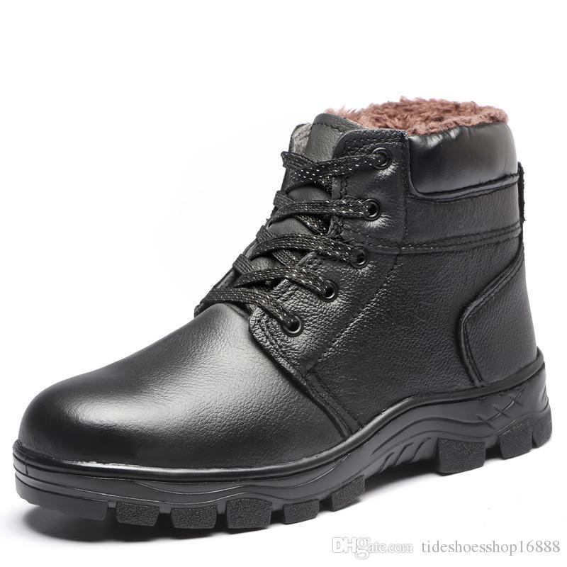 5f6775d2287 Compre Botas De Cuero Genuino Para Hombre Zapatos De Seguridad De Invierno  Para Hombre