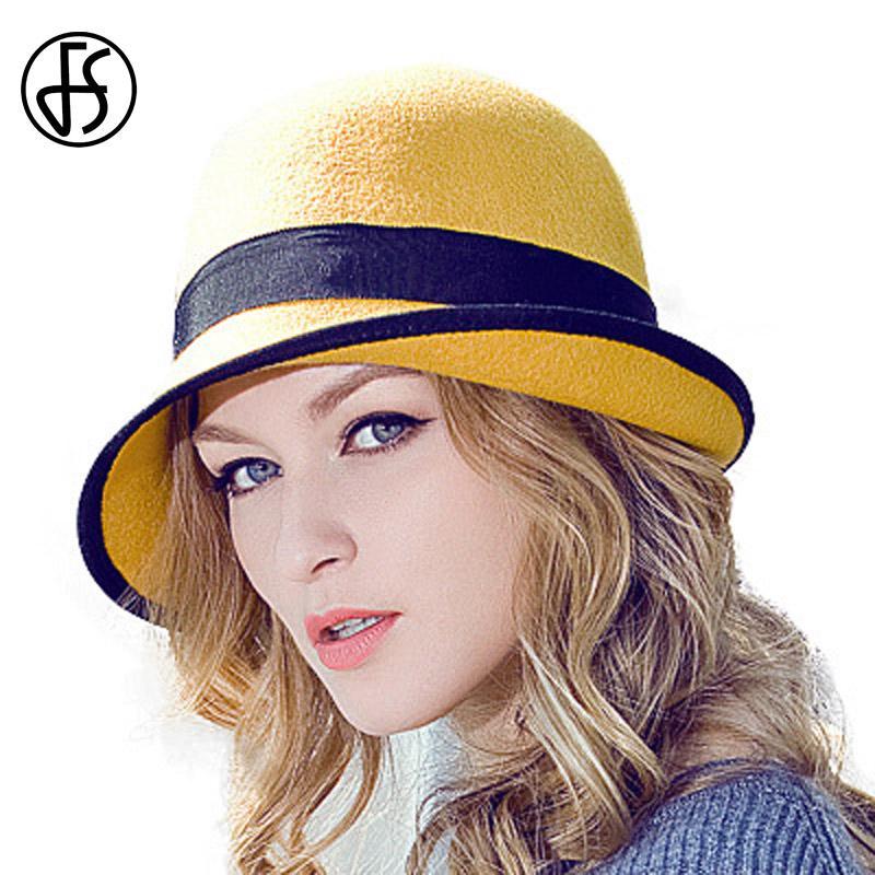 75fccdeea FS Women 100% Australian Wool Felt Bowler Fedora Hat Floppy Cloche Ladies  Winter Curl Brim Blue Red Yellow Bowknot Hats