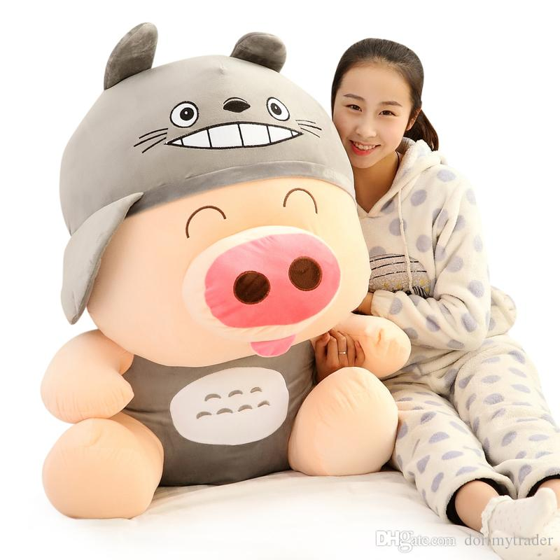 Giant Kawaii McDull Pig Plush Toy Turned into Totoro Rabbit Pig Bear Panda  Frog Duck Plush Toy Girl Doll Pillow 35inch 90cm DY50530 Stuffed Pig Stuffed  ... 5ca65482ce6b