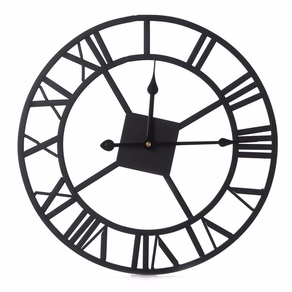 New Luxury Modern Large Diy Metal Wall Clock 3d Roman Numerals Round ...