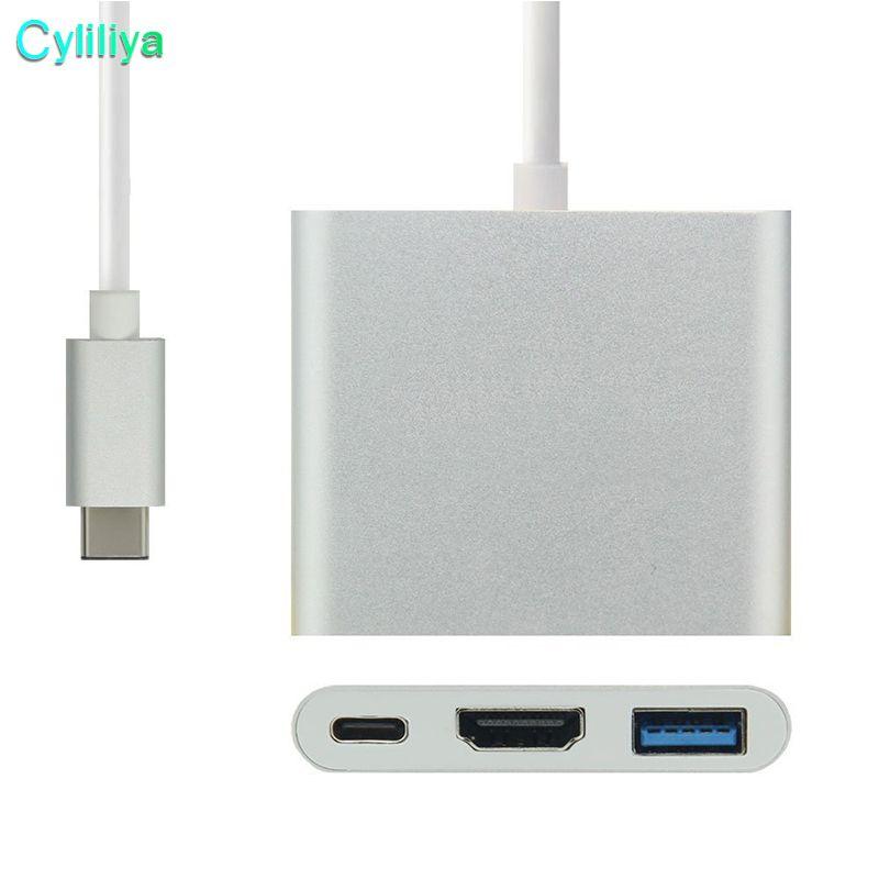 USB 3.1 Type-C a 4K HDMI USB-C Digital AV Multiport 3 in 1 Adapter HDMI4K OTG Caricabatterie USB 3.0 HUB Macbook 12 HD Cavo di collegamento