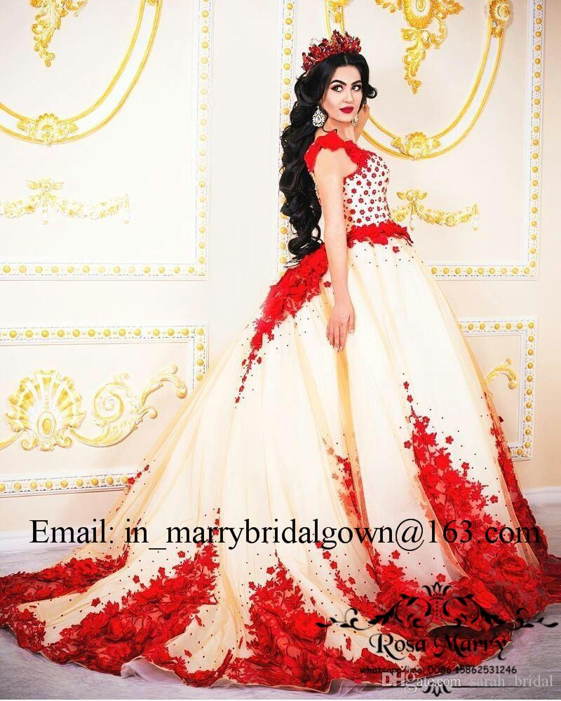 Princess 3D-Floral Red Ball Gown Wedding Dresses 2018 Illusion Plus Size Vintage Lace Arabic Dubai Princess Vestido De Novia Bridal Gowns