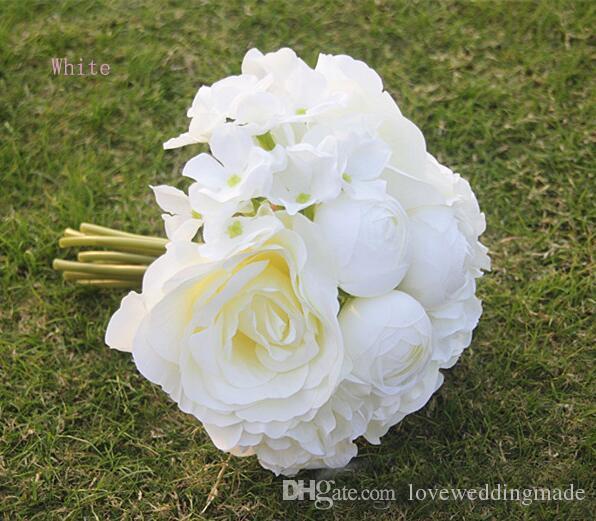 2019 Date Pas Cher Beaucoup De Mariage De Mariage De Couleur Bouquet De Haut Niveau Mélanger Artificielle Fleur De Rose De La Chine