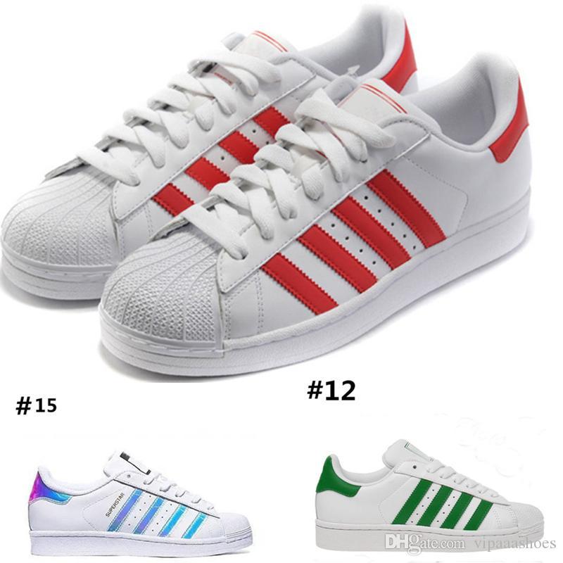 2ad68f5164084b Großhandel Discount Running Shoes Adidas Superstar Smith Mens Mens Womens Superstar  Schuhe Turnschuhe Casual Wanderschuhe Frau Wohnungen 15 Farben Größe 36 ...