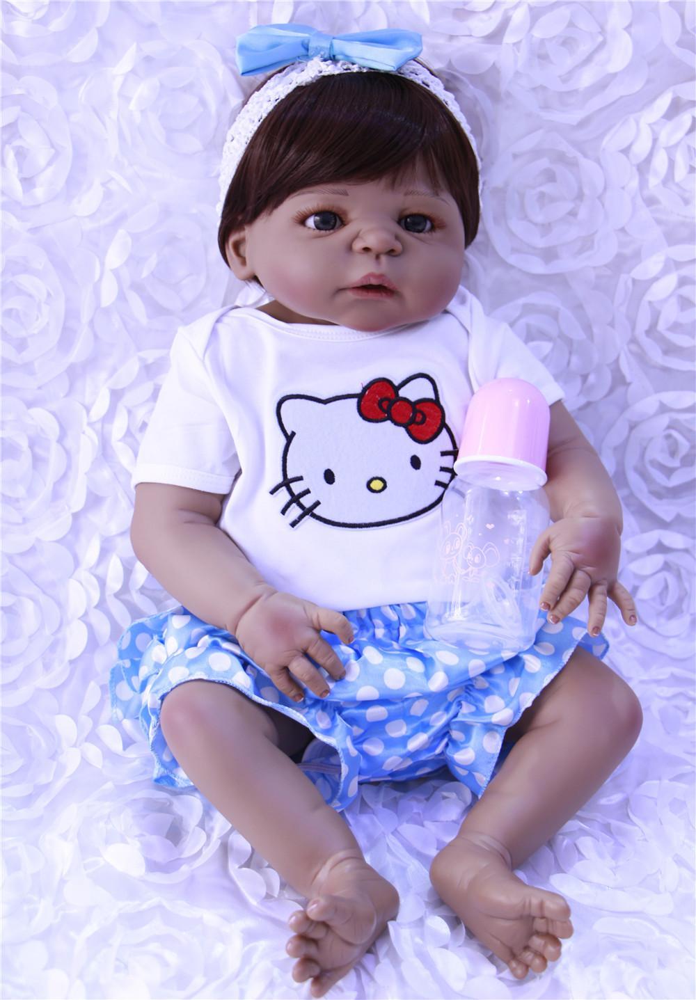 55cm Full Body Silicone Reborn Baby Black Reborn Babies Boy Doll ...